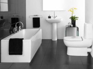 ремонт ванной комнаты в черно - белом цвете