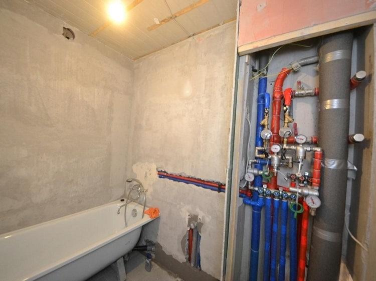 Разводка труб водоснабжения в ванной