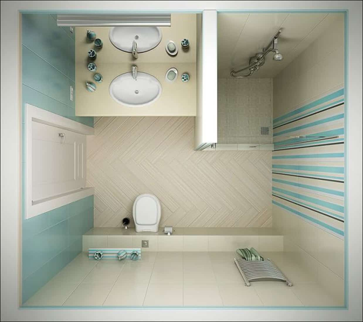 душ в маленькой ванной