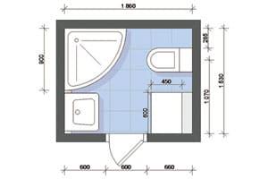 проект ванной комнаты с санузлом