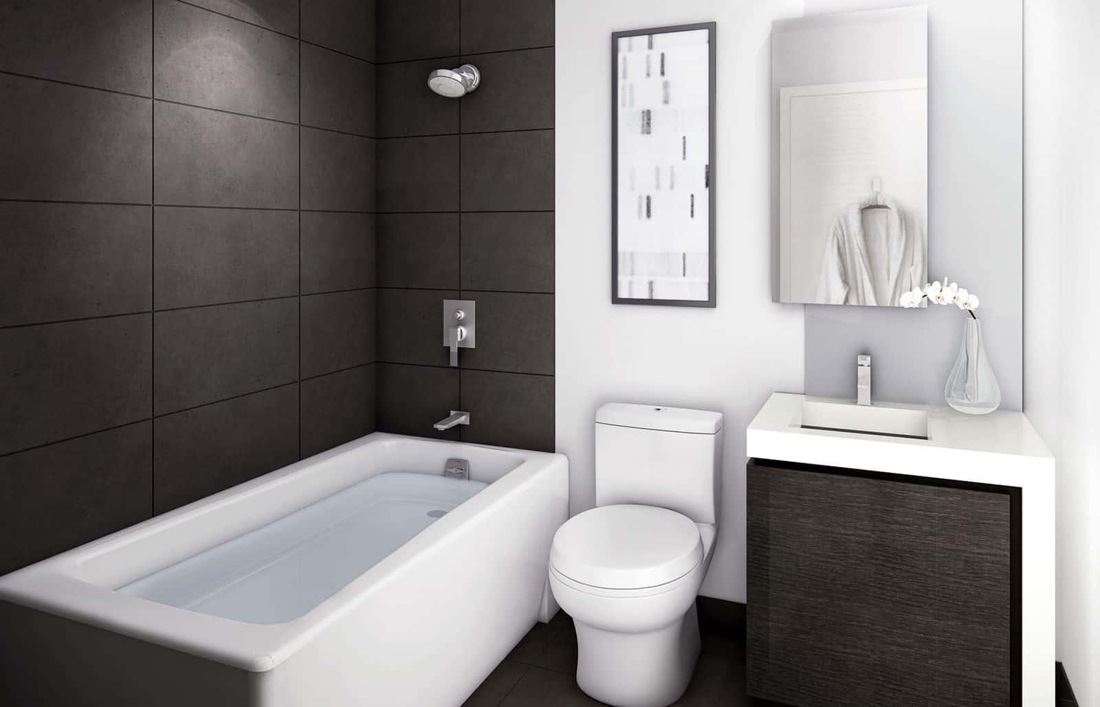 дизайн ванны в стиле минимализм