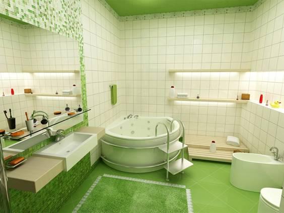 Ванная в салатовом цвете