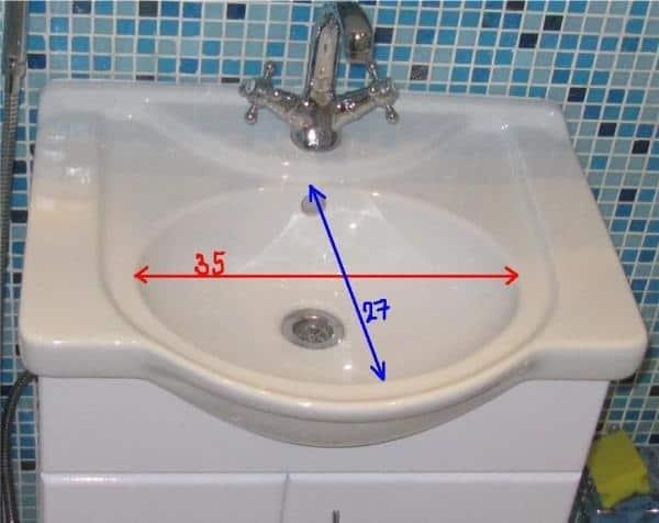 размеры раковины для ванной комнаты