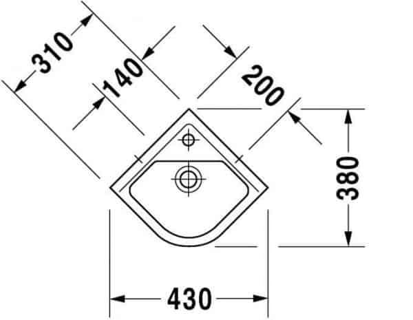 Размеры угловой раковины