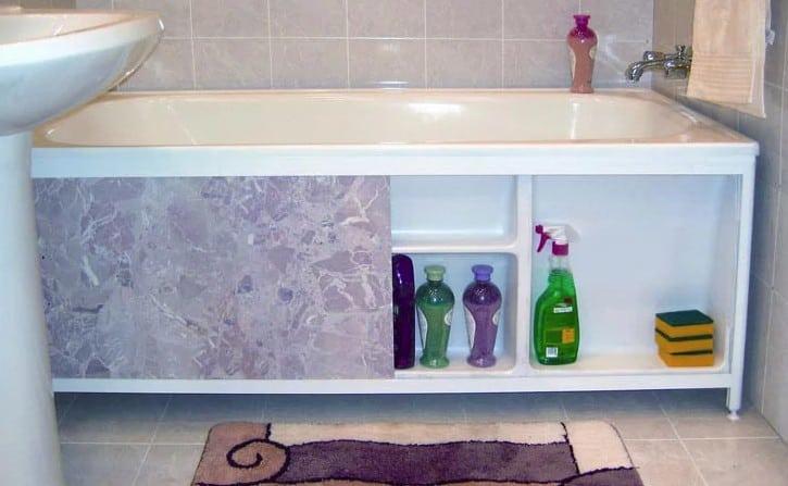 вид экрана под ванной