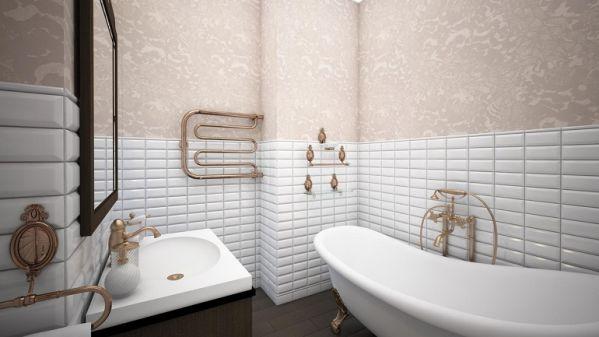 Ванная с обоями и плиткой