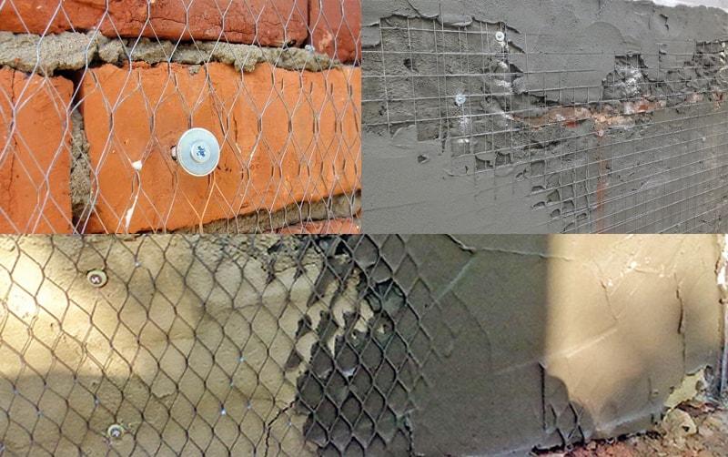 Сетка под штукатурку стен, под которой находятся кирпичи