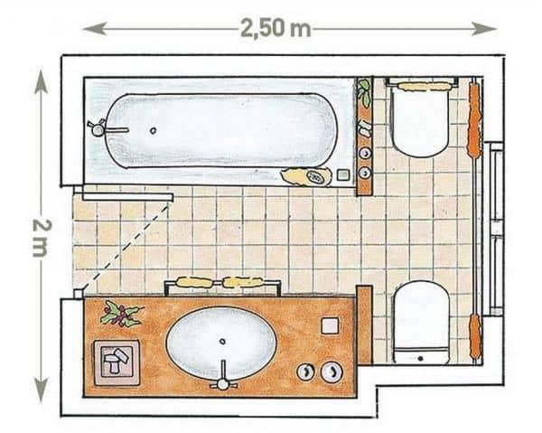 Чертёж ванной комнаты