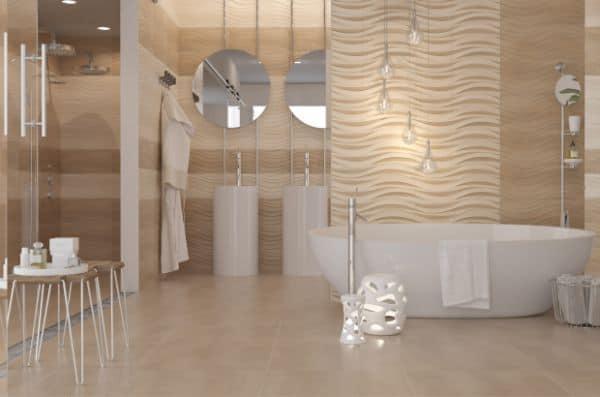 Бежевая плитка на полу из керамики