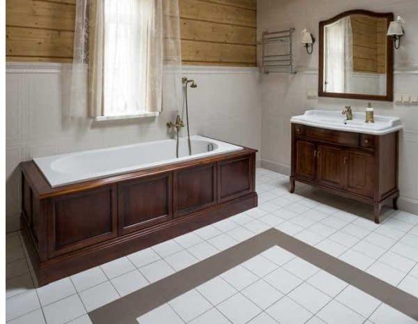 Пол из керамической плитки в ванной