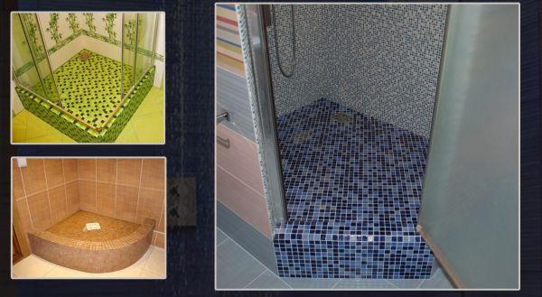 Разные варианты мозаичных поддонов в душевую кабину