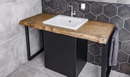 деревянная столешница в ванную под раковину