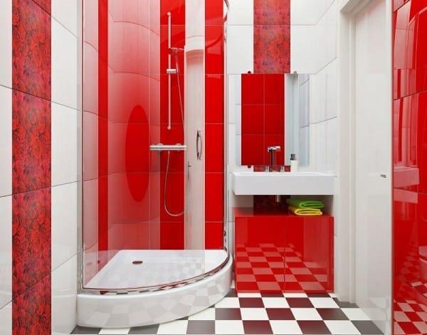 Интерьер красной ванной комнаты