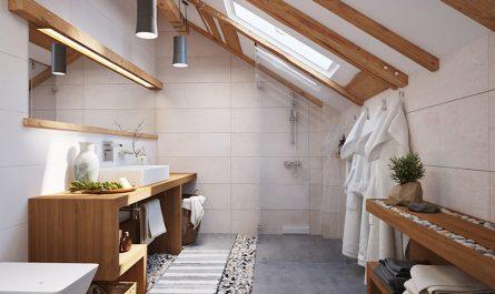 Ванная комната в мансарде со скошенным потолком фото