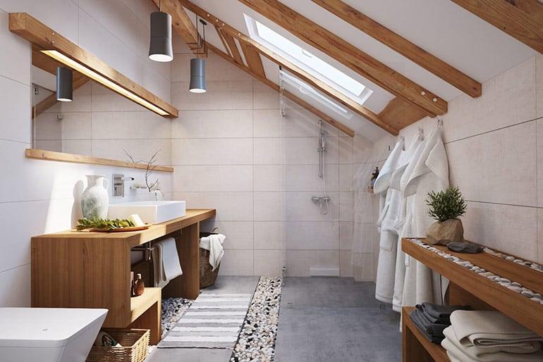 Дизайн ванной комнаты на мансардном этаже