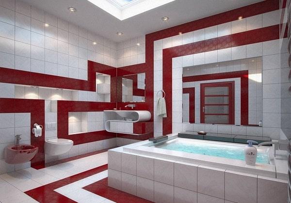 Ванная в красно-белом цвете