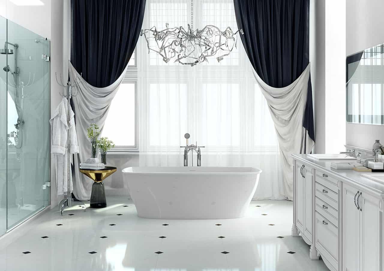 Обычные шторы в ванной комнате