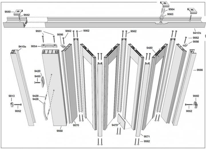 Схема сборки двери гормошки