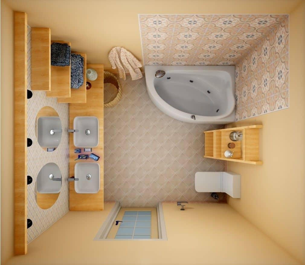 Планировка в ванной комнате