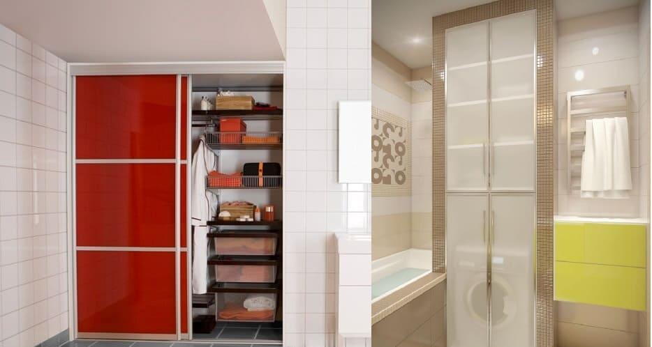 Скрытые шкафы в ванной