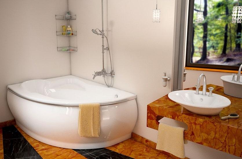 Ванна из литьевого мрамора в интерьере-3