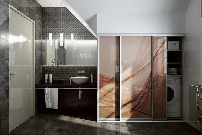 Встроенный шкаф в ванной комнате-6