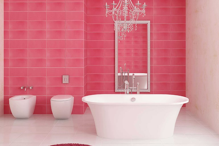 Как оформить ванную в розовом цвете