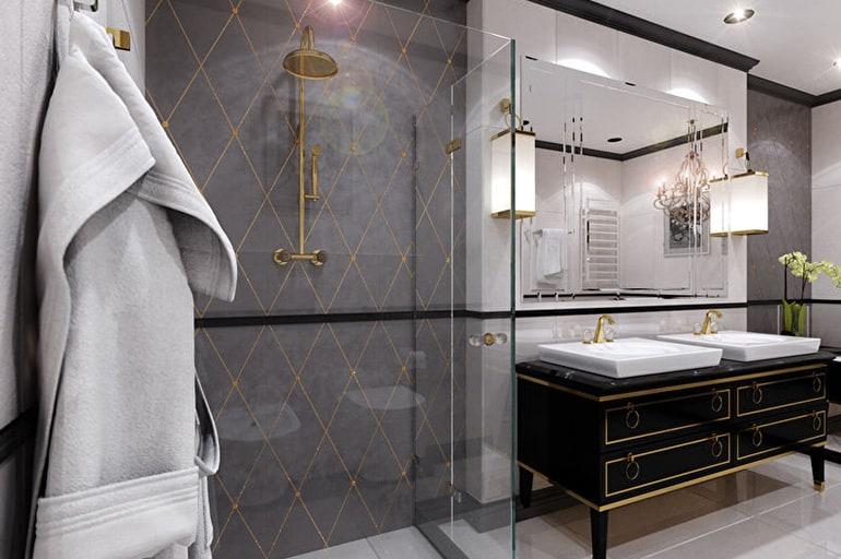 Как выглядит ванная в стиле арт-деко