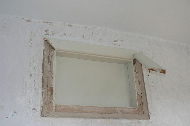 Убираем окно с рамой