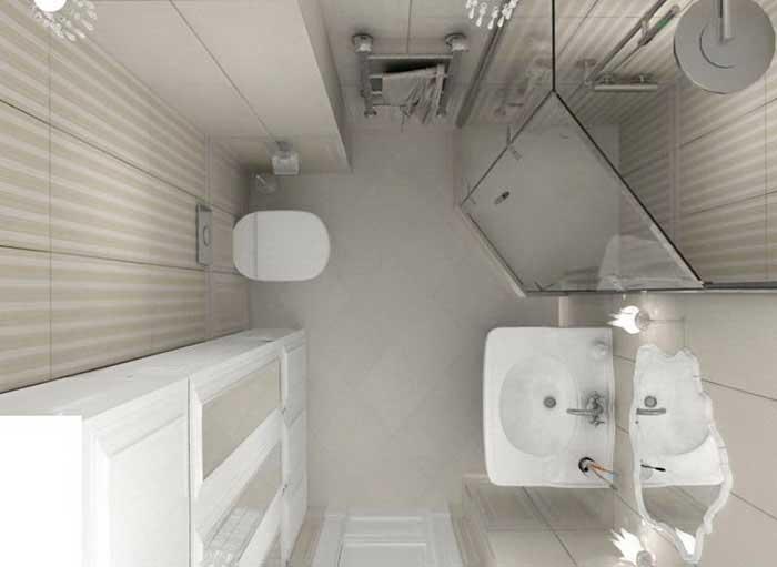 небольшая ванная комната с душевой кабиной