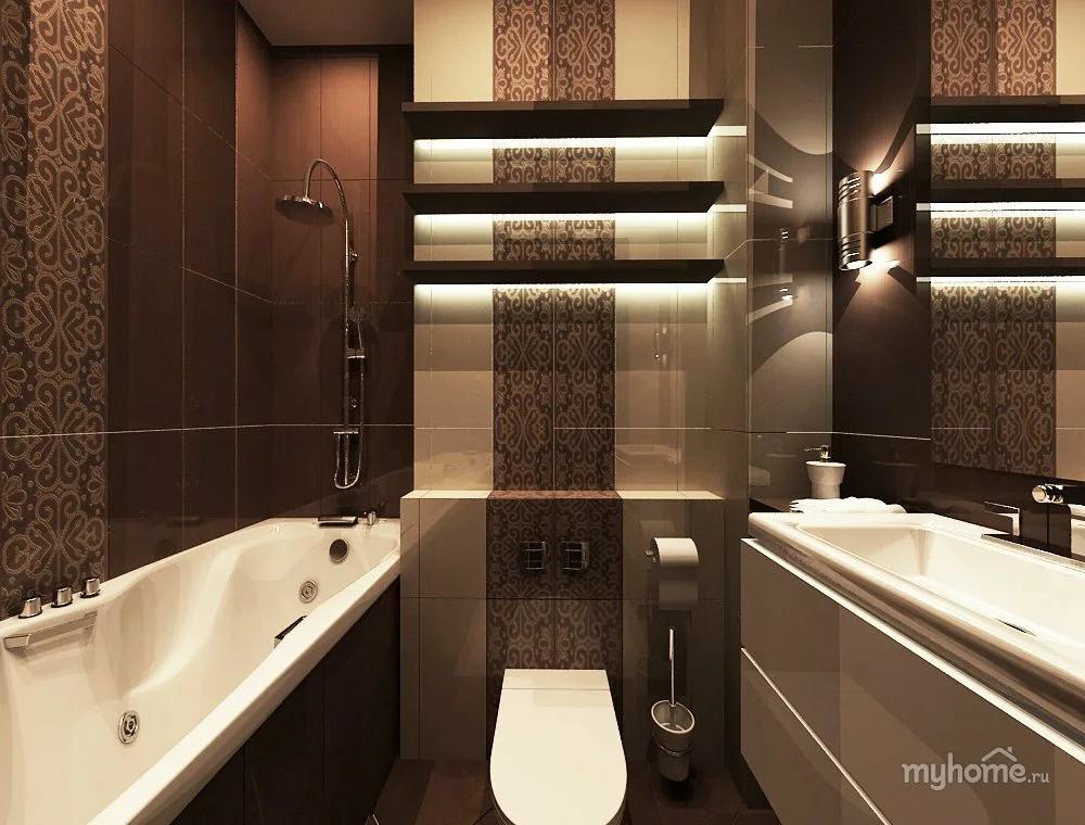Коричневый цвет в ванной