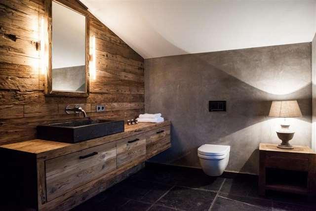 Ванная бетон и дерево